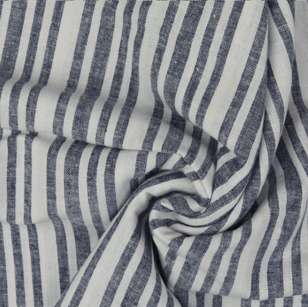 White Stripes Cotton Linen Mix