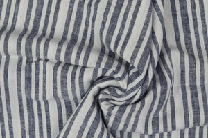 White Stripes Linen Cotton Blend Fabric