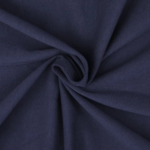 Essential Navy Plain Cotton Spandex Jersey Fabric