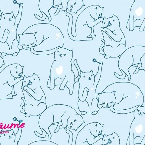Happy Cats Cotton Jersey with Glitter