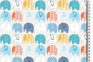 Iconic Elephants French Terry Cotton