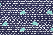 Whales Navy - Swim & Active Wear Fabric