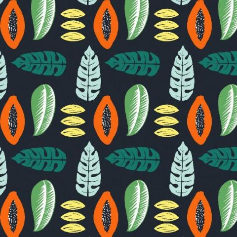 Papaya and Leaves - Organic Cotton Canvas