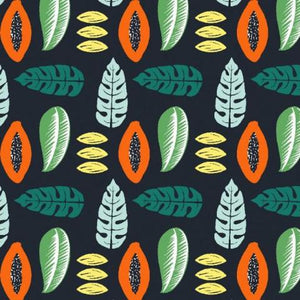 Papaya and Leaves - Cotton Canvas