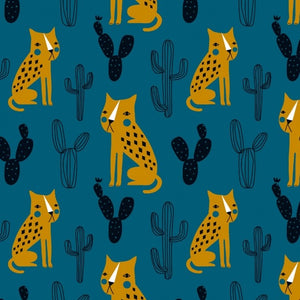 REMNANT 1.05 meters Lovely Leopards Organic Cotton Jersey (Dark Teal / Blue)