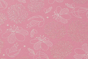 Subtle Flowers With Glitter Pink Cotton Jersey