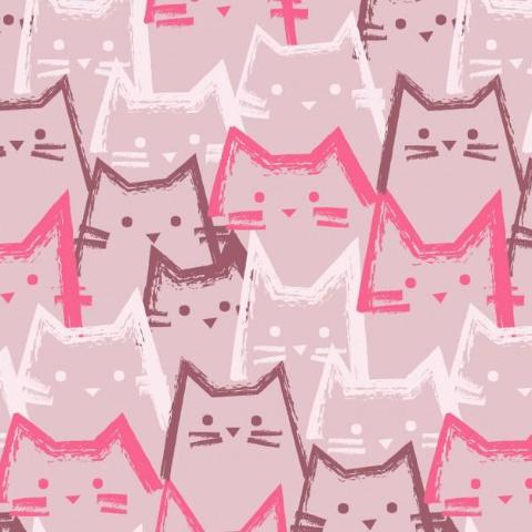 Funky Cats Cotton French Terry (Pink)