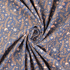Festive Garden Navy Cotton Needlecord