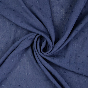 Dark Navy Swiss Dot Crinkled Viscose Fabric