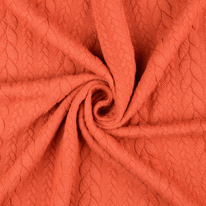 REMNANT 0.45 meter Vintage Cable Knit Jersey Burnt Orange