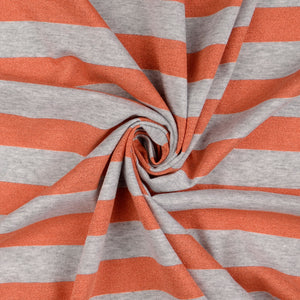 Metallic Coral Stripe Cotton Jersey