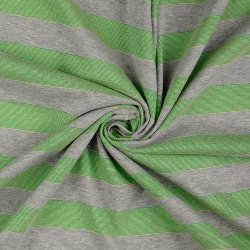 Metallic Green Stripe Cotton Jersey
