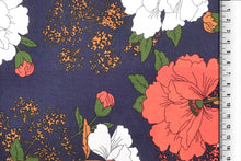 REMNANT 0.51 meter Bright Bouquet Navy Viscose Dress Fabric
