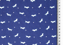REMNANT 1.44 meters Dachshund Blue Viscose Dress Fabric