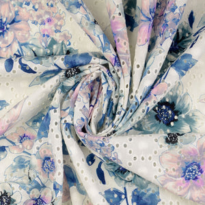 Lizzie Blue Print Broderie Anglaise Cotton Fabric