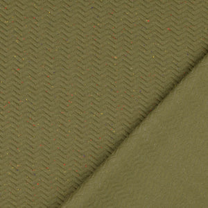 REMNANT 0.65 meter Speckled Olive Chevron Quilt Knit 160 cm wide