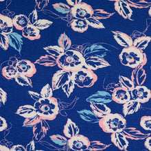 Floral Delight Blue Viscose Jersey
