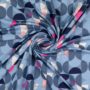 Abstract Fish Blue Viscose Jersey