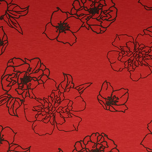 REMNANT 1.96 meters Evening Rose Red Viscose Jersey