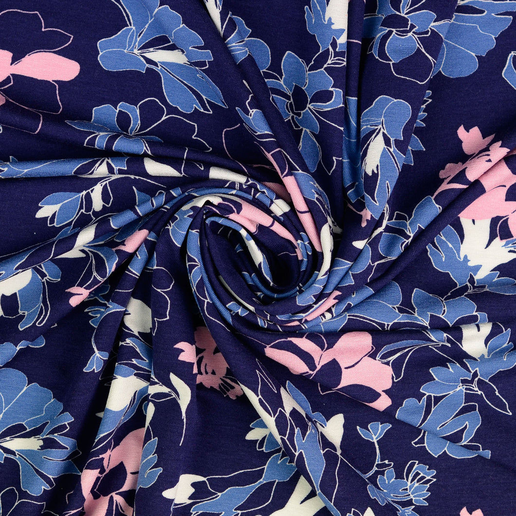 Evening Bouquet Blue Viscose Jersey
