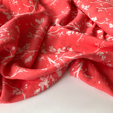 REMNANT 1.41 meters Twigs Coral Viscose Crepe Dress Fabric