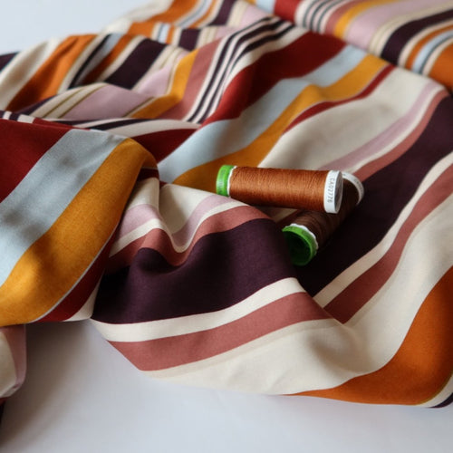 Retro Stripes Woven Viscose Fabric