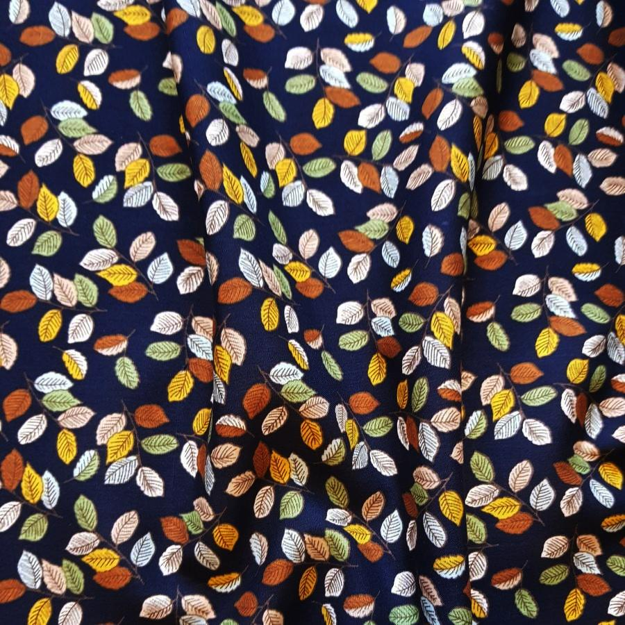 Autumn Leaves Viscose Poplin