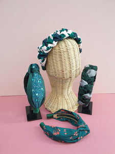 Adornments By Rosheen - Art Gallery Winterberry Pine & Emerald Duchess Satin Mixed Knot Headband