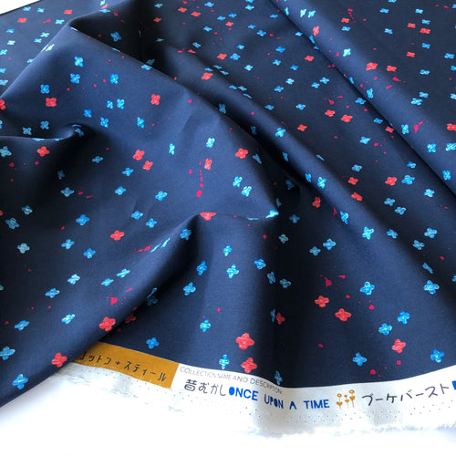 Cotton and Steel - Once Upon a Time Bouquet Burst Dark Blue Rayon