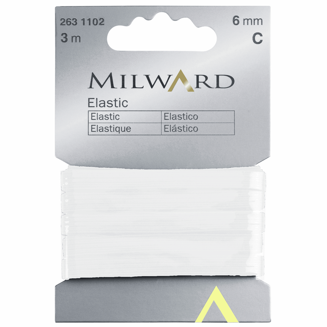 Milward Elastic 3m x 6mm - White