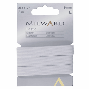 Milward Elastic 3m x 9mm - White