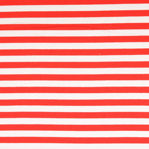 Red Stripes Looped Back Cotton French Terry