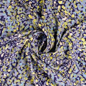 Abstract Reflection Navy Viscose Poplin
