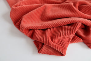 REMNANT 0.68 metres Danish Design - Burnt Orange Ribbed Velvet Jersey (Second)