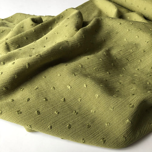 Crinkled Dotty Viscose Olive