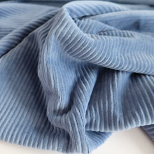 Blue Ribbed Velvet Jersey Fabric