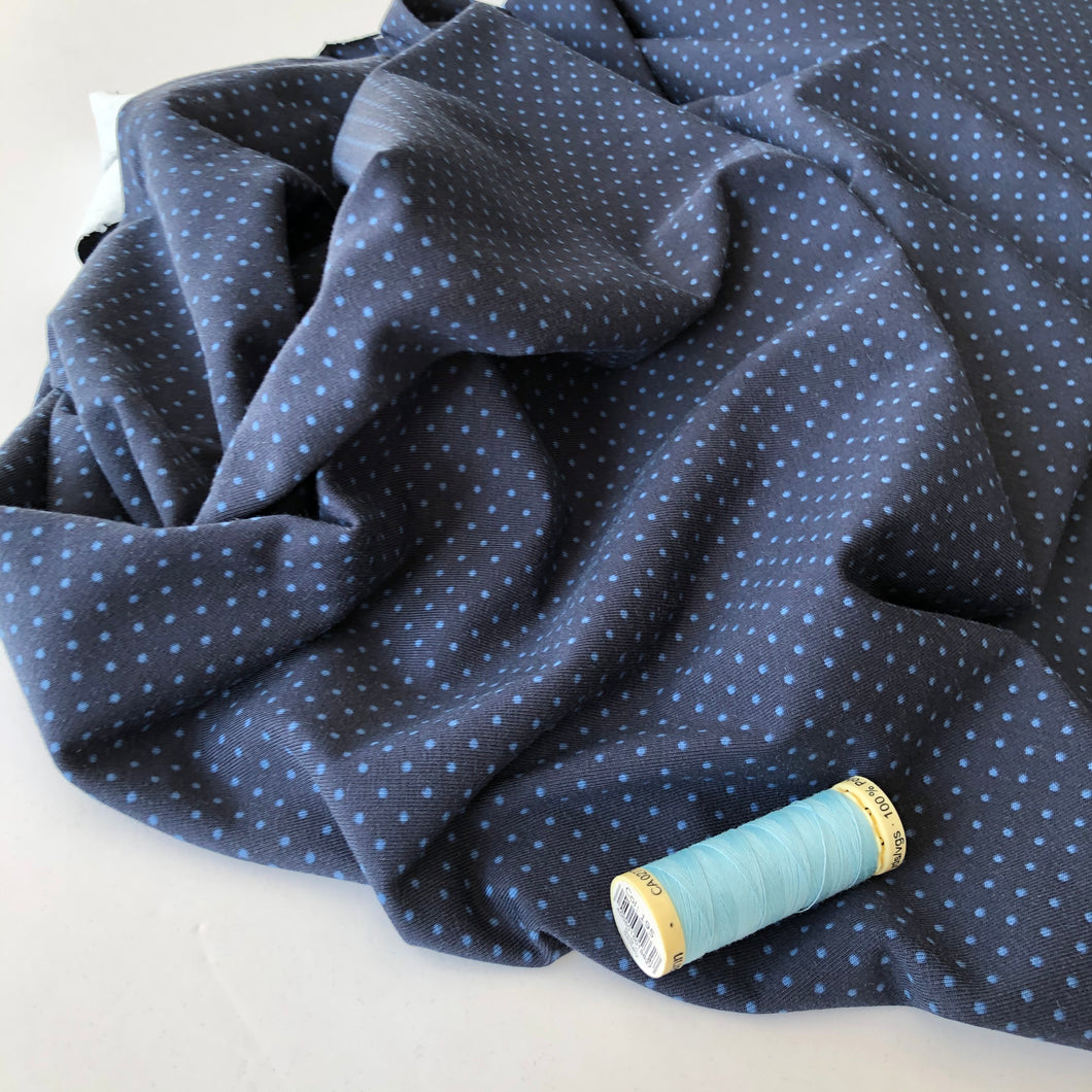 Tiny Dots Navy Cotton Jersey