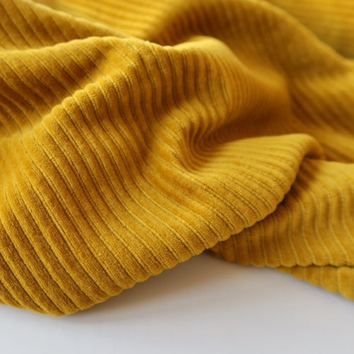 Danish Design - Mustard Yellow Ribbed Velvet Jersey Fabric