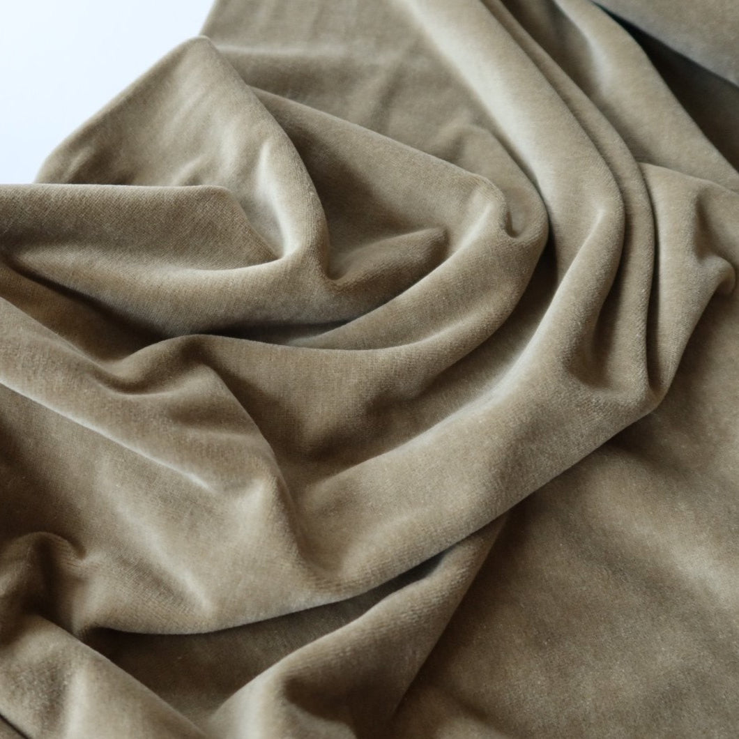 REMNANT 1.45 meters Danish Design - Khaki Velour / Velvet Fabric