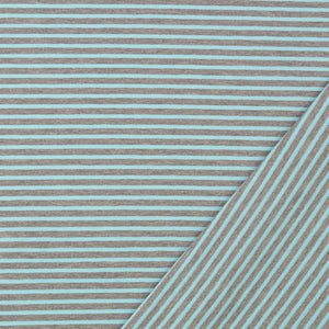 Grey with Sky Blue Small Stripe Cotton Jersey
