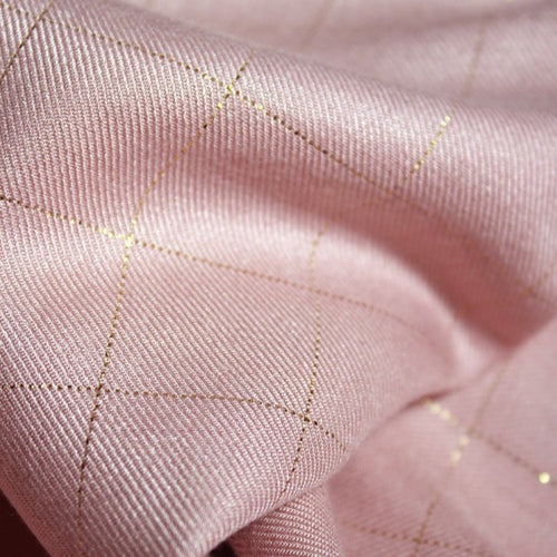 Églantine & Zoé - Pink Pearl With Gold Checked Viscose Twill Fabric