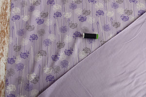 REMNANT 2.25 meters Danish Design - Dandelions Lilac Looped Back French Terry