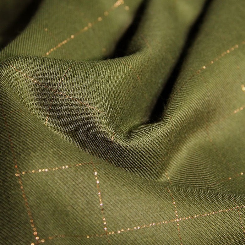 Églantine & Zoé - Khaki With Copper Checked Viscose Twill Fabric