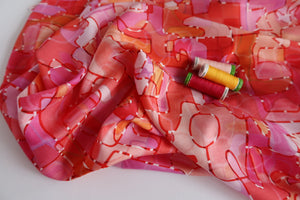 Paint Red from Circle Lines Rayon Fabric