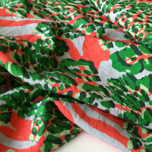Abstract Animals Green Orange Viscose Crepe Dress Fabric