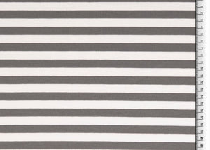 Grey Stripes Looped Back Cotton French Terry