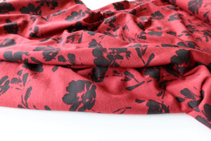 Floral Silhouette Red Lyocell Modal Jersey