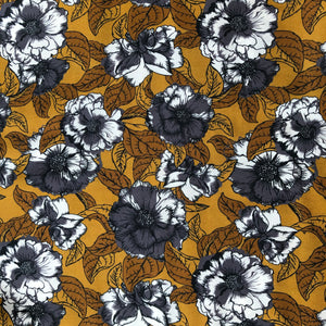 Danish Design - Ochre Blooms Viscose / Rayon