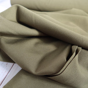 Olive Green Viscose Ponte Roma Double Knit Fabric