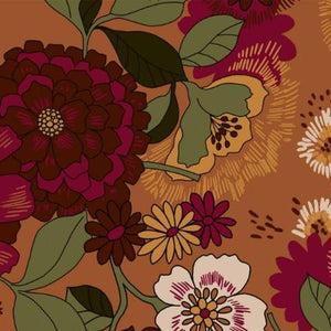 REMNANT 0.95 Meters Dahlia And Daisy Burgundy Rayon / Viscose Dress Fabric